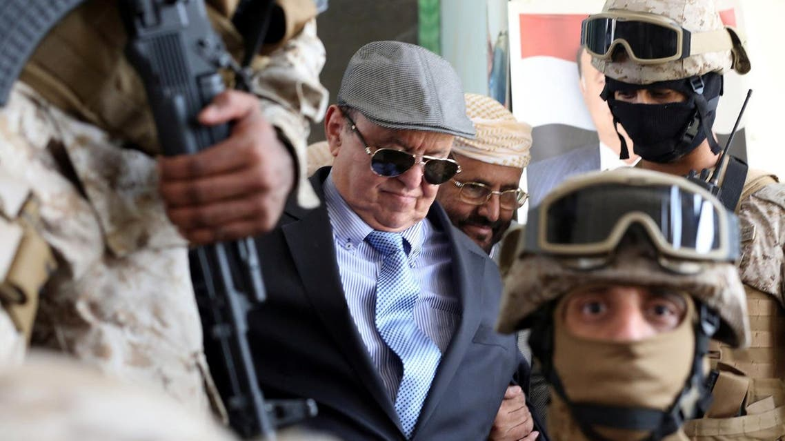 Yemen's President Abd-Rabbu Mansour Hadi is escorted by special forces during a visit to the country's northern province of Marib July 10, 2016 (Photo: Reuters)