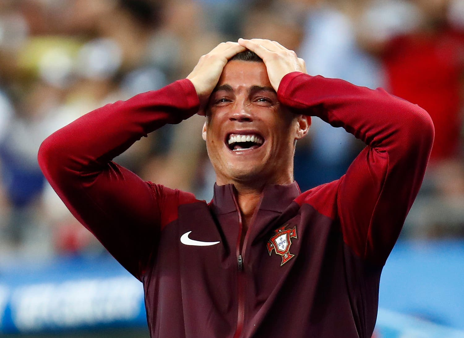 Portugal's Cristiano Ronaldo reacts after Eder scores their first goal