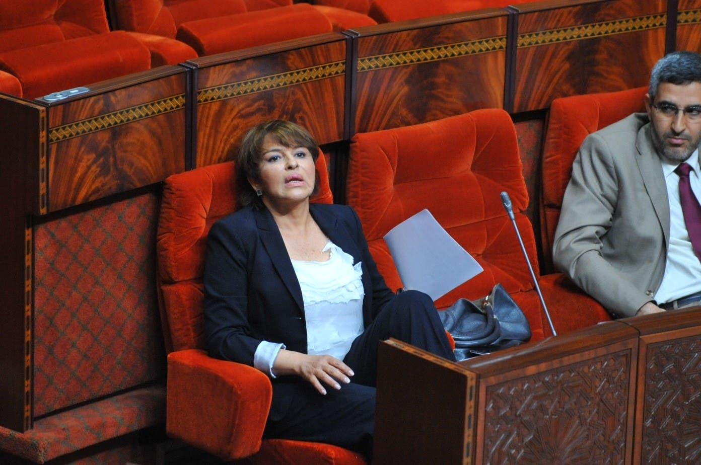 حكيمة الحيطي وزيرة البيئة، في البرلمان المغربي في الرباط