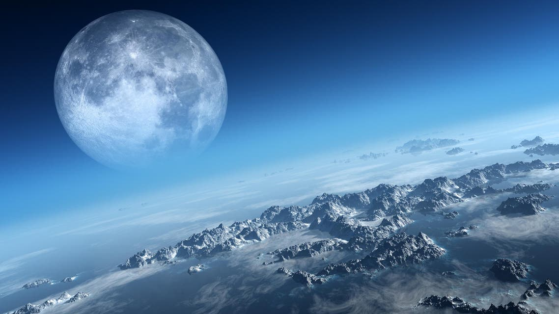 Planet Earth icy ocean and rocky islands with moon seen from space. (Shutterstock)