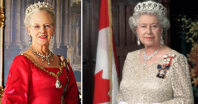 ملكتان بين الحاكمات، أو ذوات صيفة حكم دستوري، ملكة بريطانيا اليزابيث الثانية، وملكة الدنمارك مارغرت الثانية