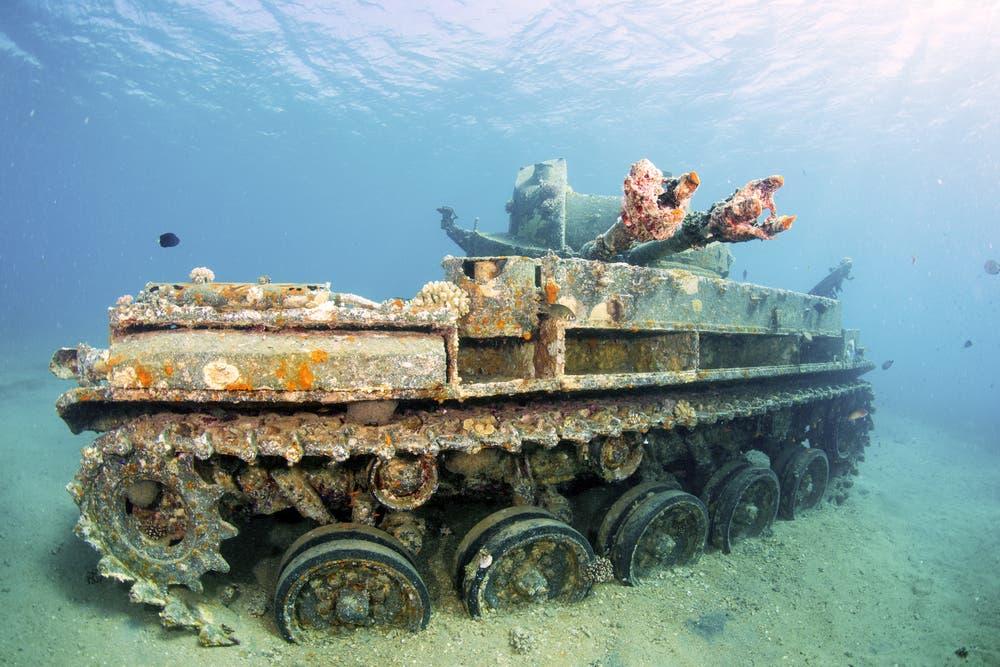 Sunken wreck of a tank in Aqaba, Red Sea, Jordan. (Shutterstock)