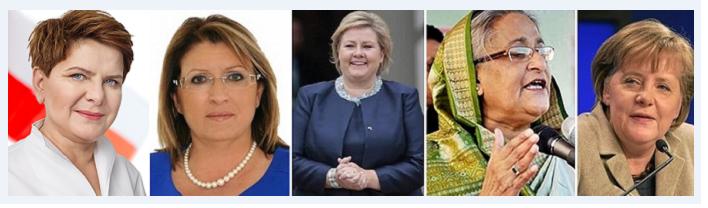 من اليمين، المستشارة الألمانية أنجيلا ميركل، ورئيسة وزراء بنغلادش الشيخة حسينة واجد، ورئيسة وزراء النرويج أرنا سولبرغ، ثم رئيسة جمهورية مالطا ماري لويز كوليرو بريكا، وبعدها رئيسة وزراء بولندا بيتا شيدلو