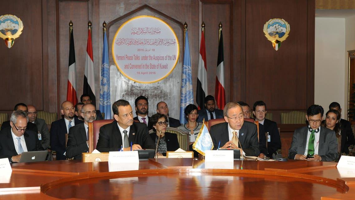 U.N. Secretary General Ban Ki-moon, center right, talks with a member of the Yemeni delegation during the Yemeni Peace Talks in Kuwait.