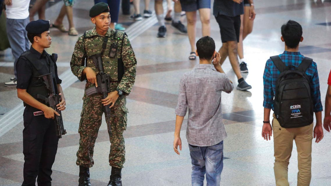 Malaysia military personnel patrol in the KL Sentral train station in Kuala Lumpur, Malaysia, Thursday, July 7, 2016. (AP)