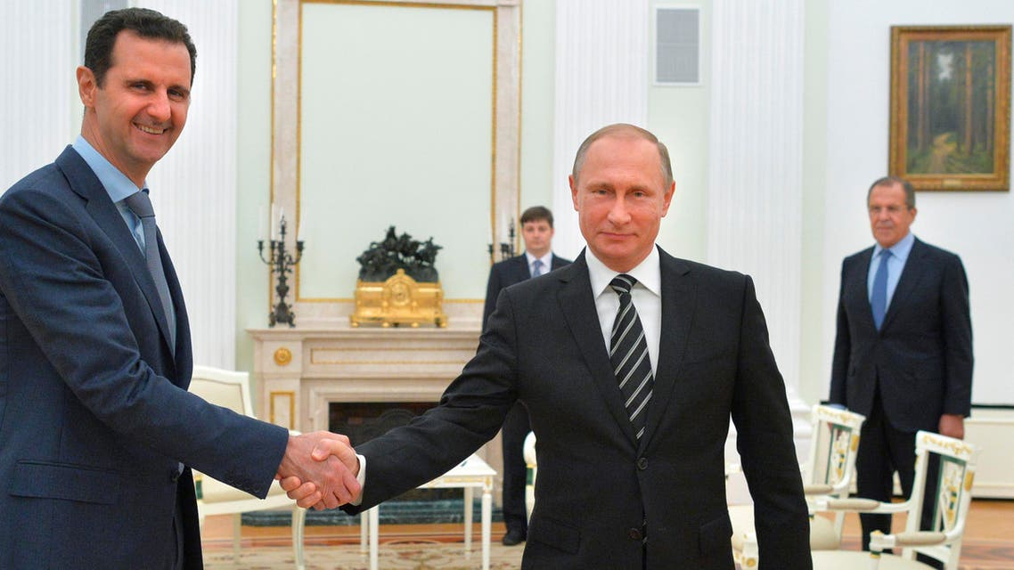 """Bashar al-Assad said in an interview released Thursday that his Russian ally has """"never"""" discussed a political transition with him, despite international support for such a process. (AP)"""