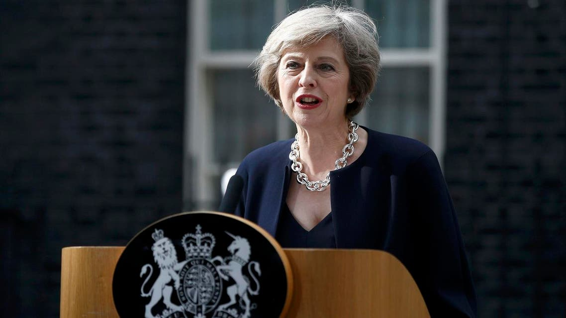 Britain's Prime Minister, Theresa May, speaks to the media outside number 10 Downing Street, in central London. (Reuters)