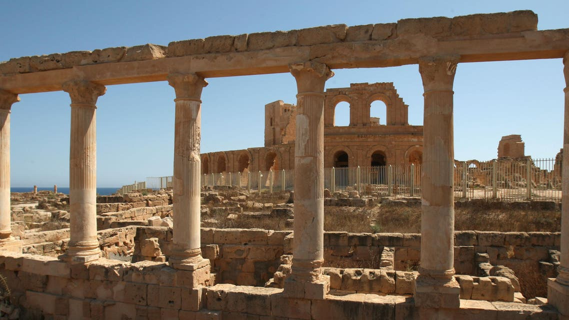 The Roman Theater is seen through a public arena columns at the well-preserved ancient costal city of Sabrata, Libya June 14, 2008. (File Photo AP)