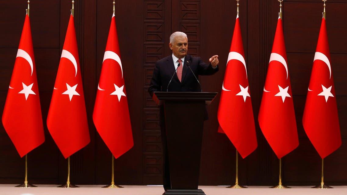 Turkey's Prime Minister Binali Yildirim addresses the media in Ankara. (Reuters)