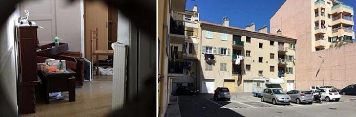 شقته في الطابق 12 من العمارة الى اليمين، واحدى غرفها بعد تفتيشها