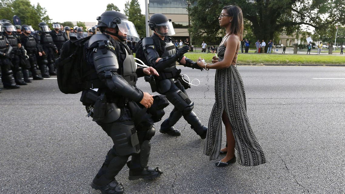 Ieshia Evans, 35, was made famous by the widely-shared picture, which encapsulated for some the spirit of demonstrators across the United States protesting against how police treat people of color. (AP)
