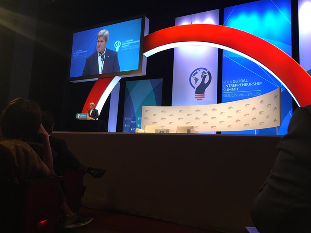 US Secretary of State John Kerry delivers openings remarks at GES 2016. (Courtesy: Global Entrepreneurship Summit)