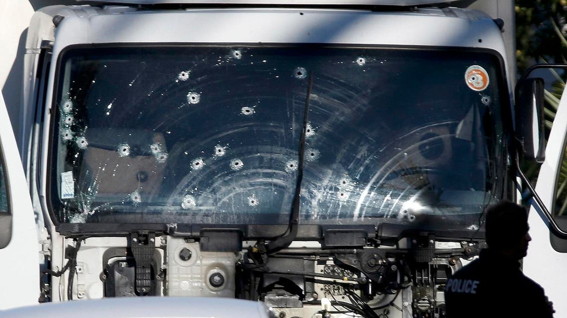 Bullet impacts are seen on the heavy truck the day after it ran into a crowd at high speed killing scores celebrating the Bastille Day July 14 national holiday on the Promenade des Anglais in Nice. (Reuters)