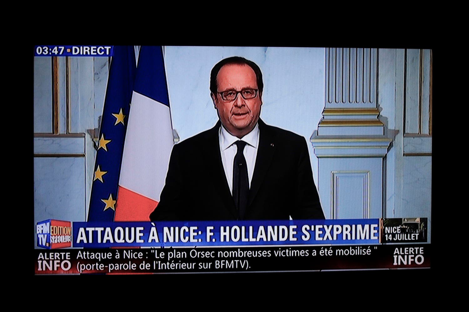 This still image from a BFM TV telecast shows French President Francois Hollande speaking about the attack in Nice on July 14, 2016 in Elysee, Paris. (AFP)