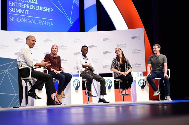 President Obama joins panel with Facebook's Mark Zuckerberg and global entrepreneurs. (Courtesy: Global Entrepreneurship Summit)