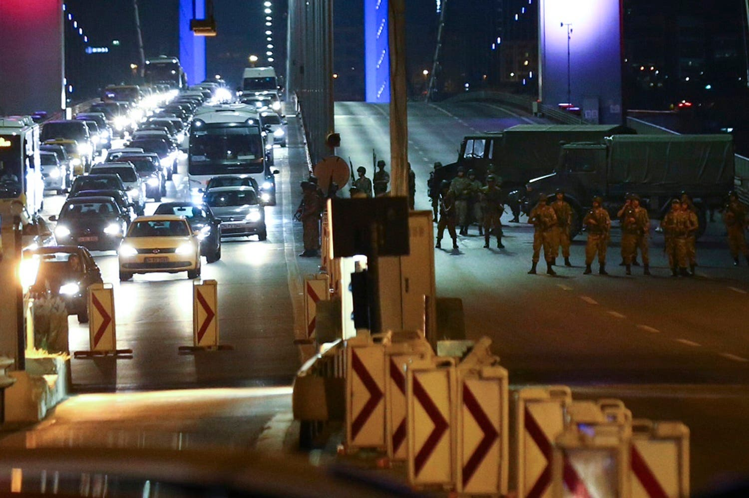 Turkish military block access to the Bosphorus bridge, which links the city's European and Asian sides. (Reuters)