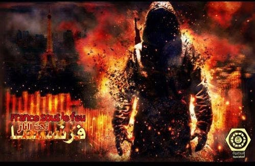 "Pro-ISIS groups immediately celebrated the Bastille Day attacks in Nice last night. An image showing a burning Eiffel Tower carried the caption ""France under fire"""