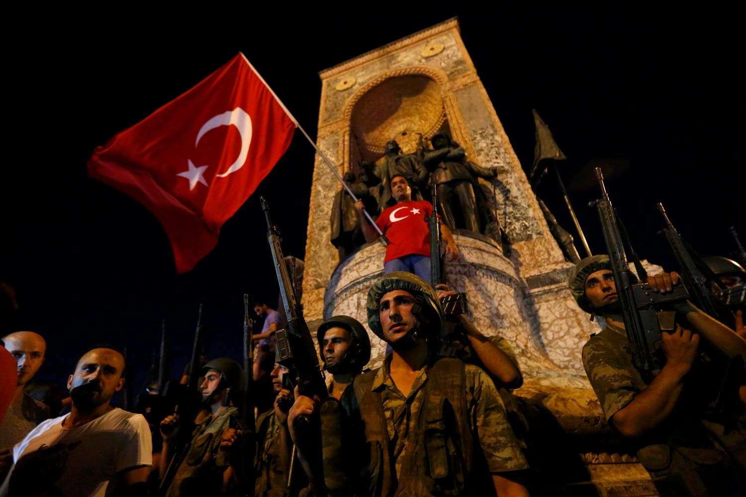 Turkish military stand guard near the the Taksim Square in Istanbul. (Reuters)