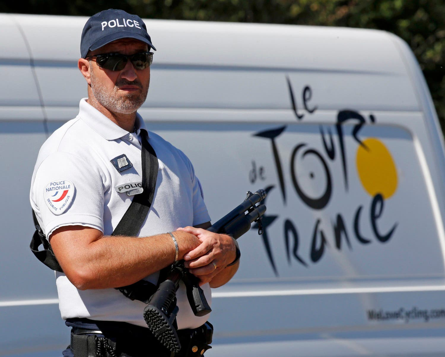 Armed French police secures area near the start of the Tour de France. (Reuters)