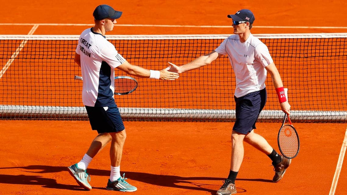 Great Britain's Jamie Murray and Dominic Inglot during their doubles match against Serbia's Filip Krajinovic and Nenad Zimonjic. (Reuters)