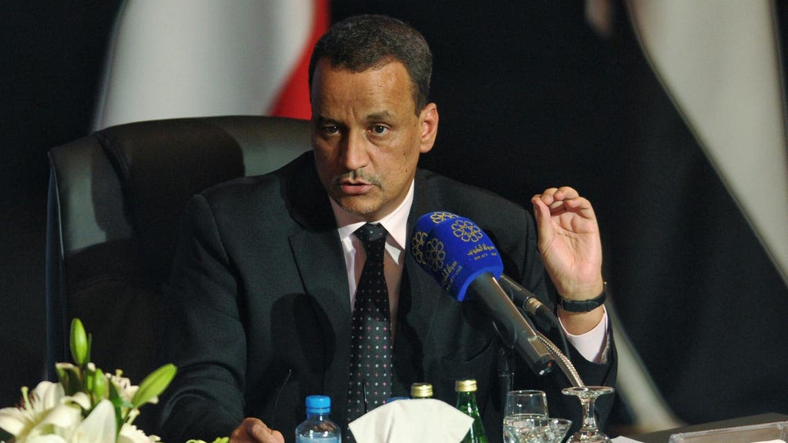 The United Nations envoy overseeing Yemen's peace talks Ismail Ould Cheikh Ahmed holds a press conference in Kuwait city on Friday, April 22, 2016. (AP)