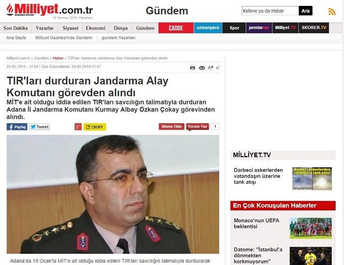 وصحيفة ملليت التركية نشرت صورة  العقيد جوكاي