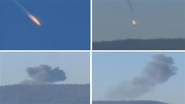 A combination picture taken from video shows a war plane crashing in flames in a mountainous area in northern Syria after it was shot down by Turkish fighter jets near the Turkish-Syrian border November 24, 2015. (Reuters)