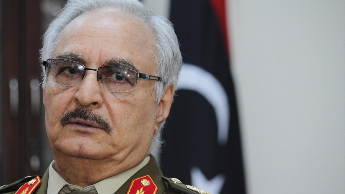 this March 18, 2015 photo file photo, Gen. Khalifa Hifter, the head of armed forces based in the east of Libya speaks during an interview with The Associated Press, in al-Marj, Libya. AP