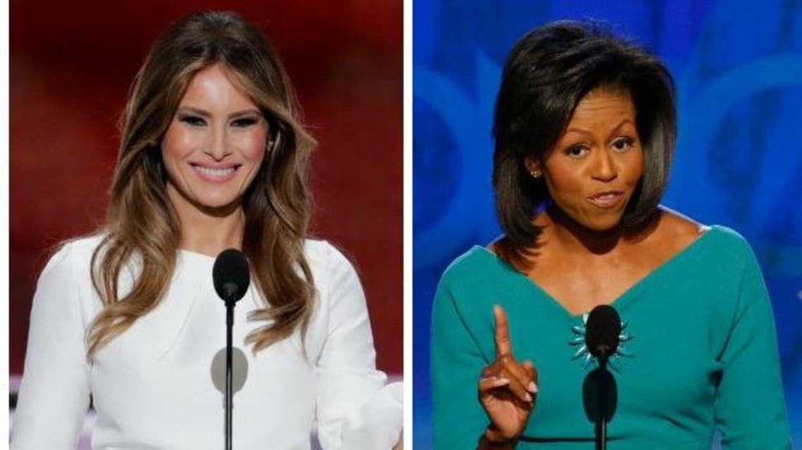 In this combination of photos, Melania Trump, left, wife of Republican Presidential Candidate Donald Trump, speaks during the opening day of the Republican National Convention in Cleveland, Monday, July 18, 2016, and Michelle Obama, wife of Democratic presidential candidate, Sen. Barack Obama, D-Ill., speaks at the Democratic National Convention in Denver, Monday, Aug. 25, 2008.