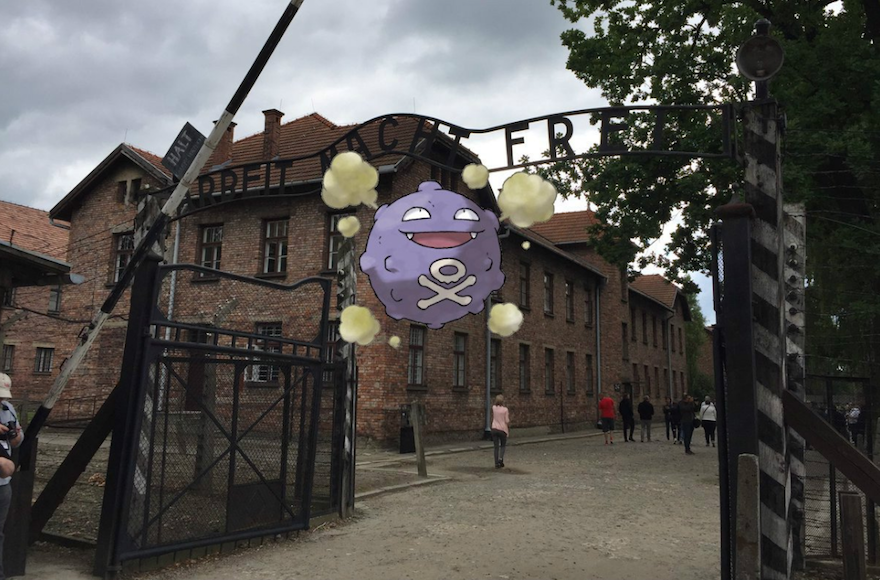 Some users of the new game have found virtual Pokémon at the Auschwitz museum. (Twitter)