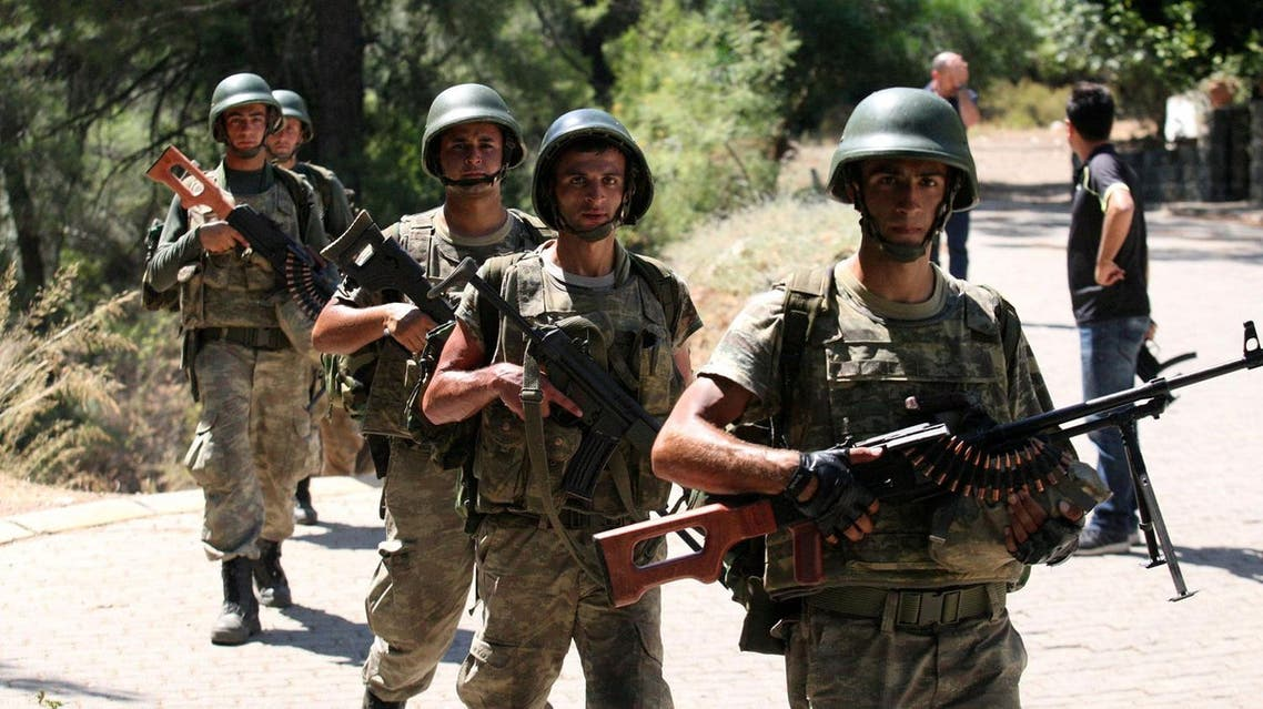 Turkish soldiers search for missing military personnel suspected of being involved in the coup attempt in Marmaris, Turkey, July 18, 2016. REUTERS