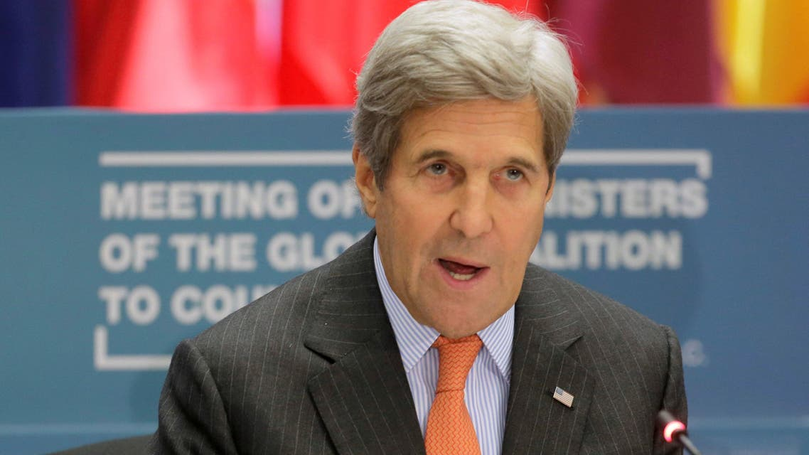 """U.S. Secretary of State John Kerry speaks at a """"Meeting of the Ministers of the Global Coalition to Counter ISIL: Joint Plenary Session"""" at the State Department in Washington, U.S., July 21, 2016. REUTERS/Joshua Roberts"""