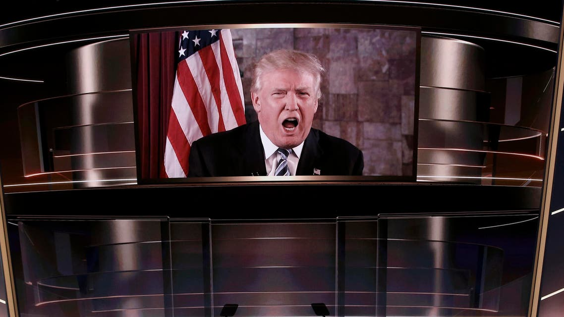 Donald Trump speaks live via satellite from Trump Tower in New York City during the second session. (Reuters)