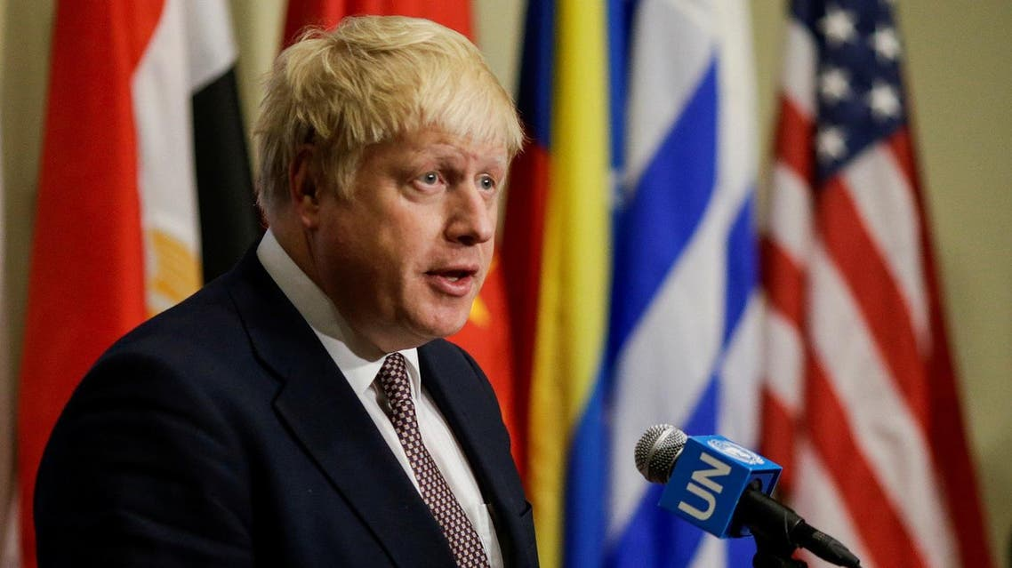 British Foreign Secretary Boris Johnson gives his remarks during a stake-out at United Nations headquarters in New York U.S., July 22, 2016. REUTERS