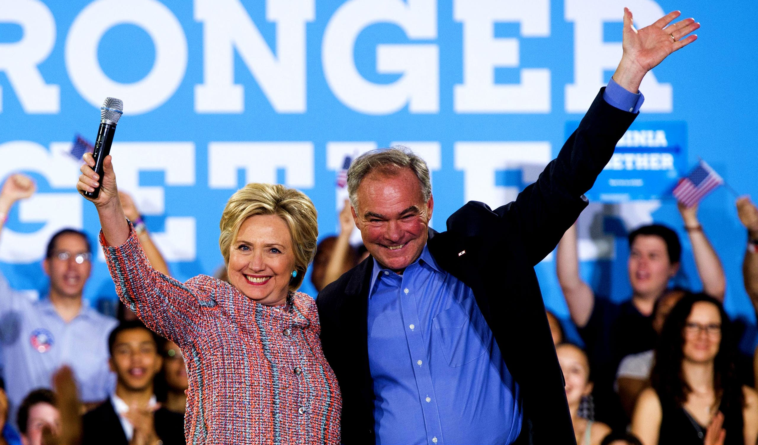 Kaine seen as helping the former secretary of state win over votes from reluctant independent male voters. (File photo: AFP)