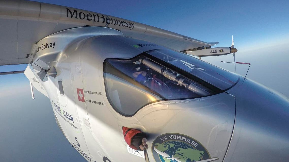 The 16th leg of the round-the-world-trip from Seville in Spain covered a distance of 2300 miles (3700 kilometers) and took almost 49 hours. The experimental airplane arrived in Egypt, Wednesday, July 13, 2016. (Andrè Borschberg/Global Newsroom via AP