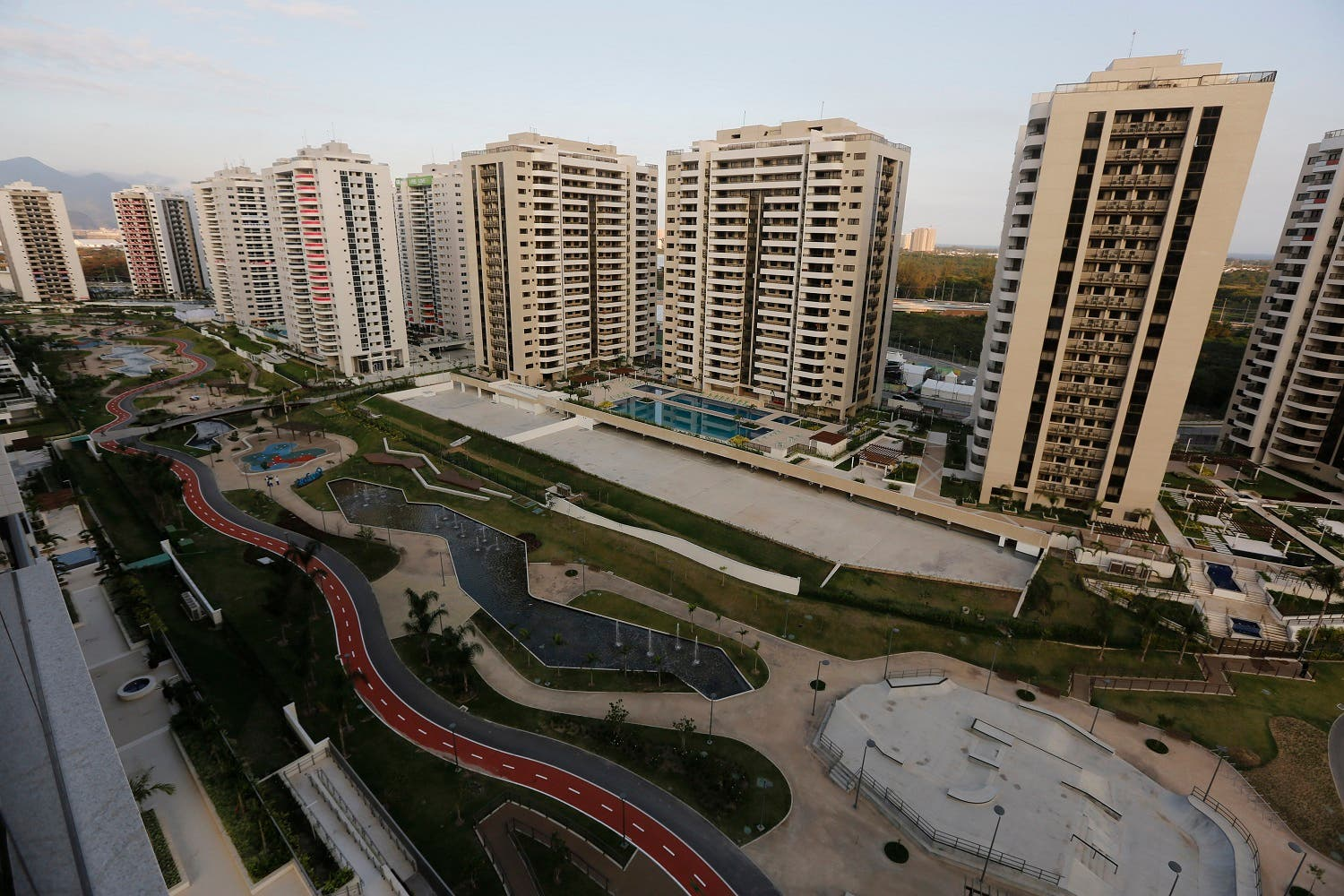 The Olympic Village stands ready in Rio de Janeiro, Brazil, Saturday, July 23, 2016. The brand new complex of residential towers are where nearly 11,000 athletes and some 6,000 coaches and other handlers will sleep, eat and train during the upcoming games, that will kickoff on Aug. 5 (AP)