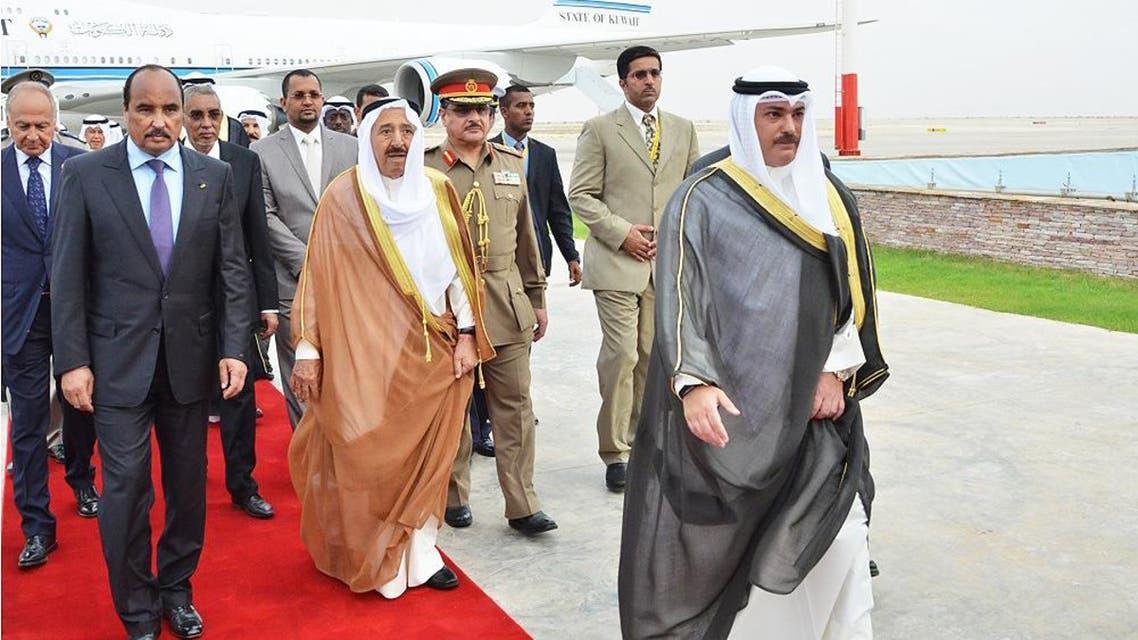 Kuwaiti Emir Sheikh Sabah Al Sabah arrives in the Mauritanian capital Nouakchott ahead of the summit. (KUNA)