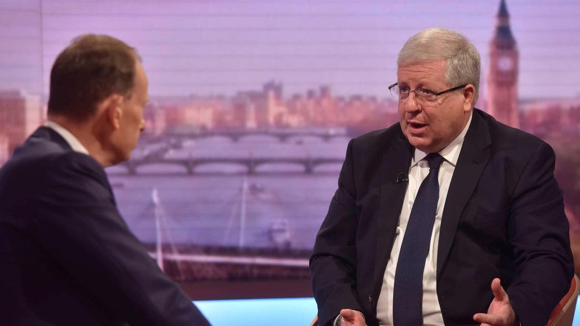 Patrick McLoughlin (R), chairman of Britain's Conservative Party is seen speaking on the BBC's Andrew Marr Show in this photograph received via the BBC in London, Britain July 24, 2016. Jeff Overs/Courtesy of the BBC/Handout via REUTERS ATTENTION EDITORS - THIS IMAGE HAS BEEN SUPPLIED BY A THIRD PARTY. NO COMMERCIAL OR BOOK SALES. NO ARCHIVES. FOR EDITORIAL USE ONLY. NOT FOR SALE FOR MARKETING OR ADVERTISING CAMPAIGNS. NO SALES