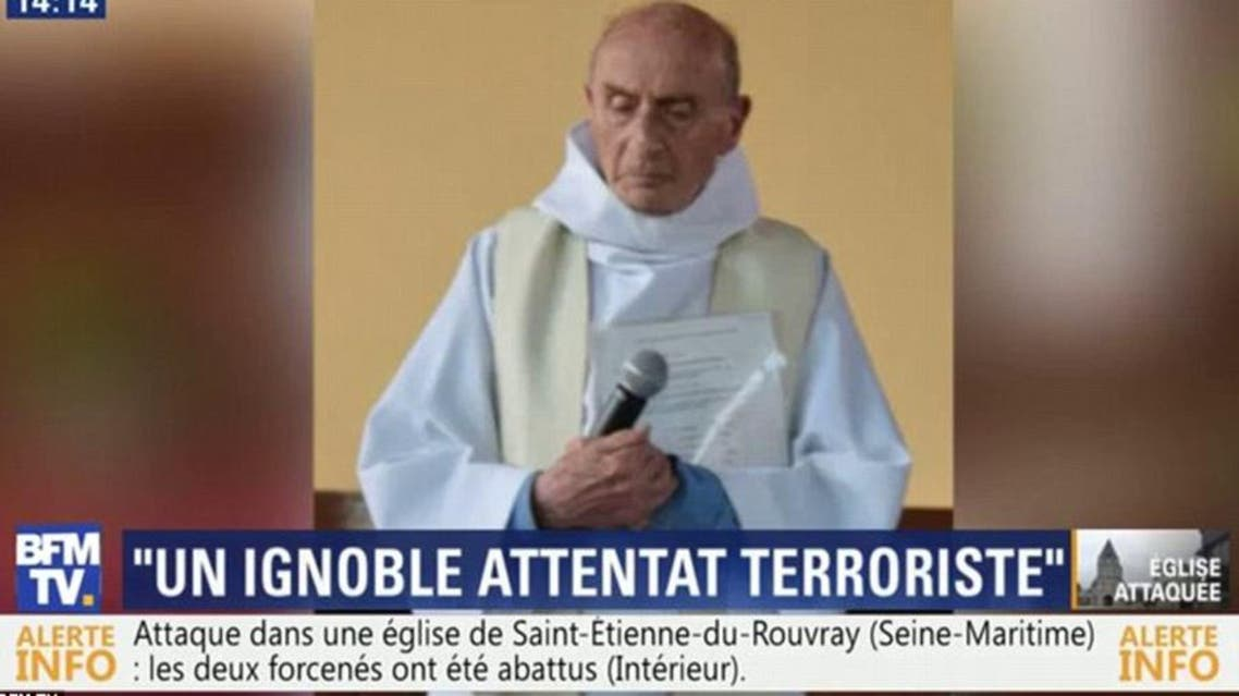 A still from a French TV station show the slain priest, named as Jacques Hamel. (Photo courtesy BFM TV)