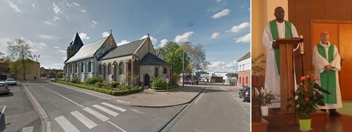 القسيس الذبيح (إلى اليمين) والكنيسة حيث قتلوه في عملية أسفرت أيضاً عن جرح 3 أشخاص