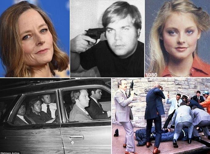 هكذا كانت جودي فوستر عام أطلق جون هينكلي النار على ريغان، وهكذا أصبحت في صورة من العام الماضي. أما الصورة تحت، فحين انقضّوا عليه واعتقلوه، ومن بعدها اقتادوه بالسيارة إلى التحقيق