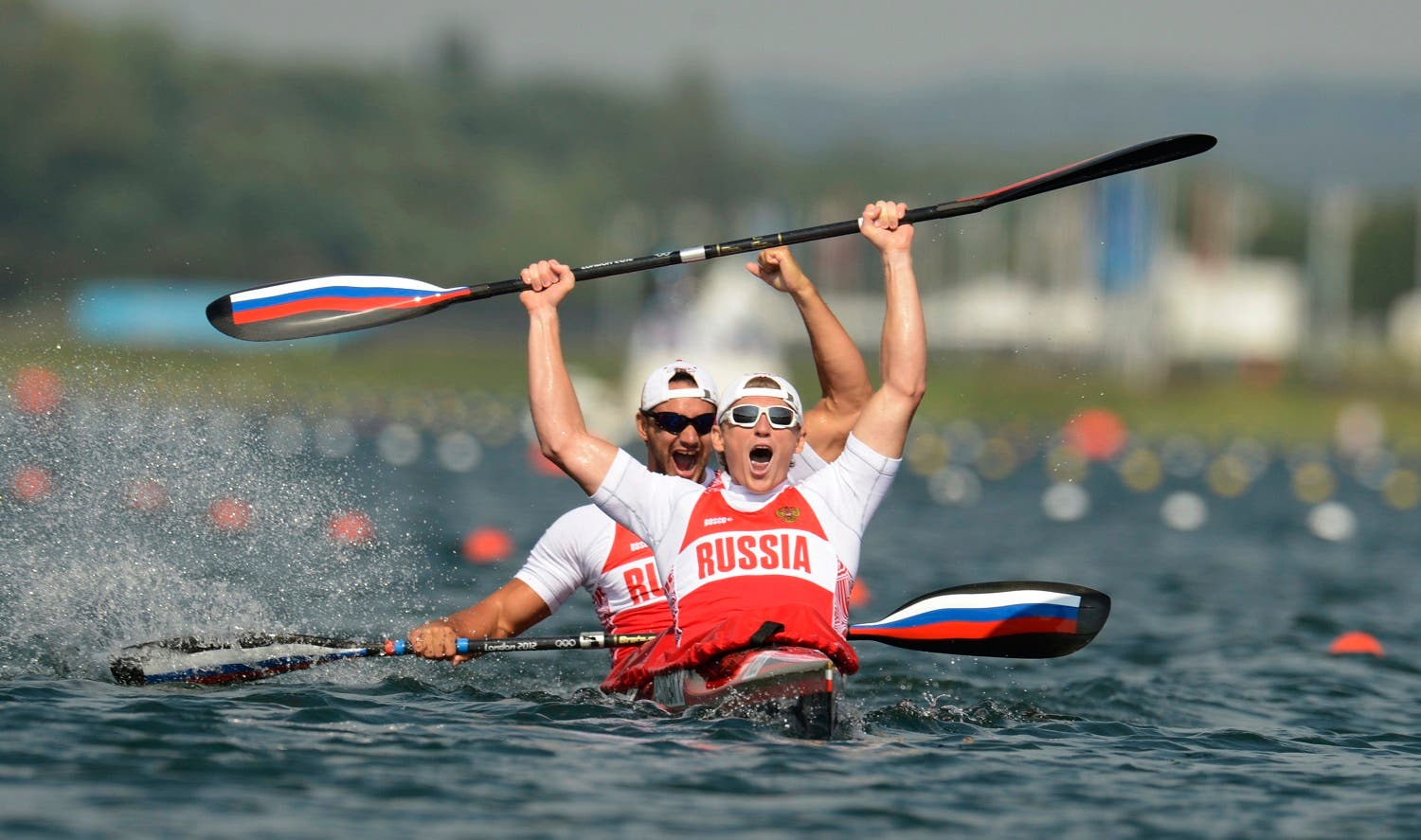 Russia's Yury Postrigay and Alexander Dyachenko row in the men's kayak double (K2) 200m event at Eton Dorney during the London 2012 Olympic Games August 11, 2012.  (Reuters)