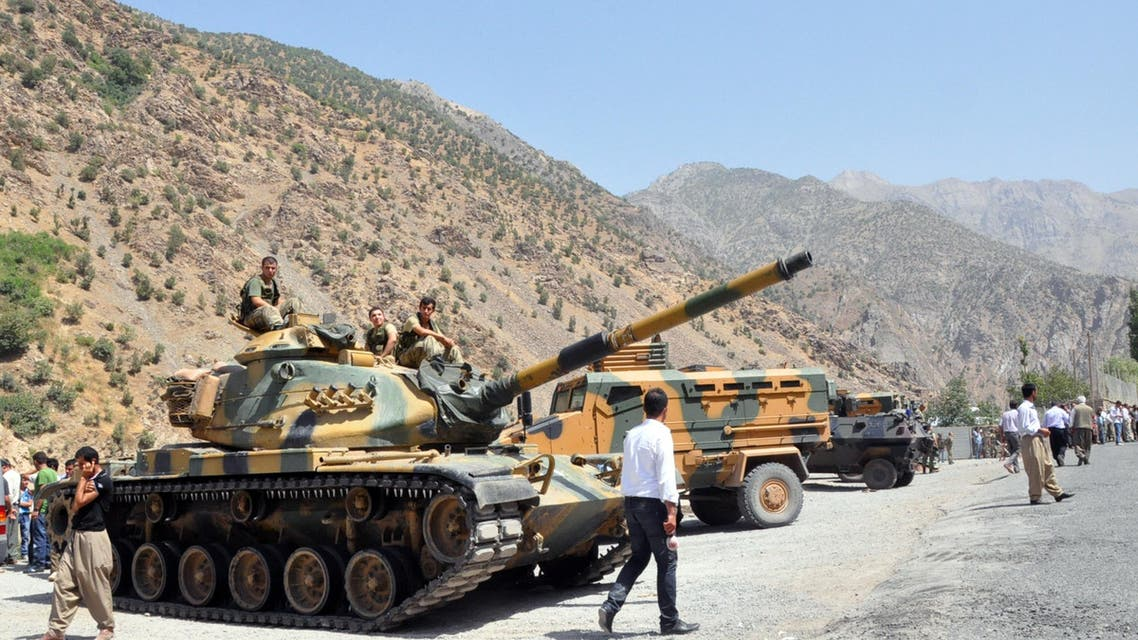 Heavy armoured vehicles of Turkish military are stationed in front of Gecimli military outpost where Kurdish rebels attacked and killed 6 soldiers and 2 village guard on August 5, 2012 at Cukurca in Hakkari. AFP