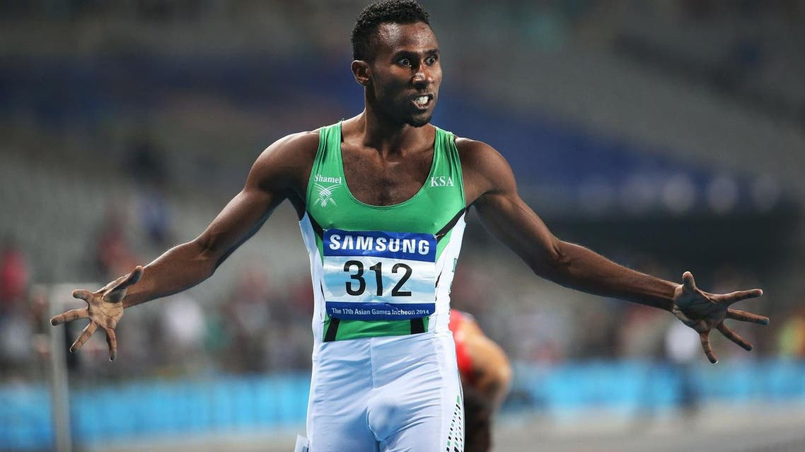 Saudi Arabia's Yousef Ahmed M Masrahi reacts after his Men's 400m Semifinal at the 17th Asian Games in Incheon, South Korea, Saturday, Sept. 27, 2014.(AP Photo/Rob Griffith)