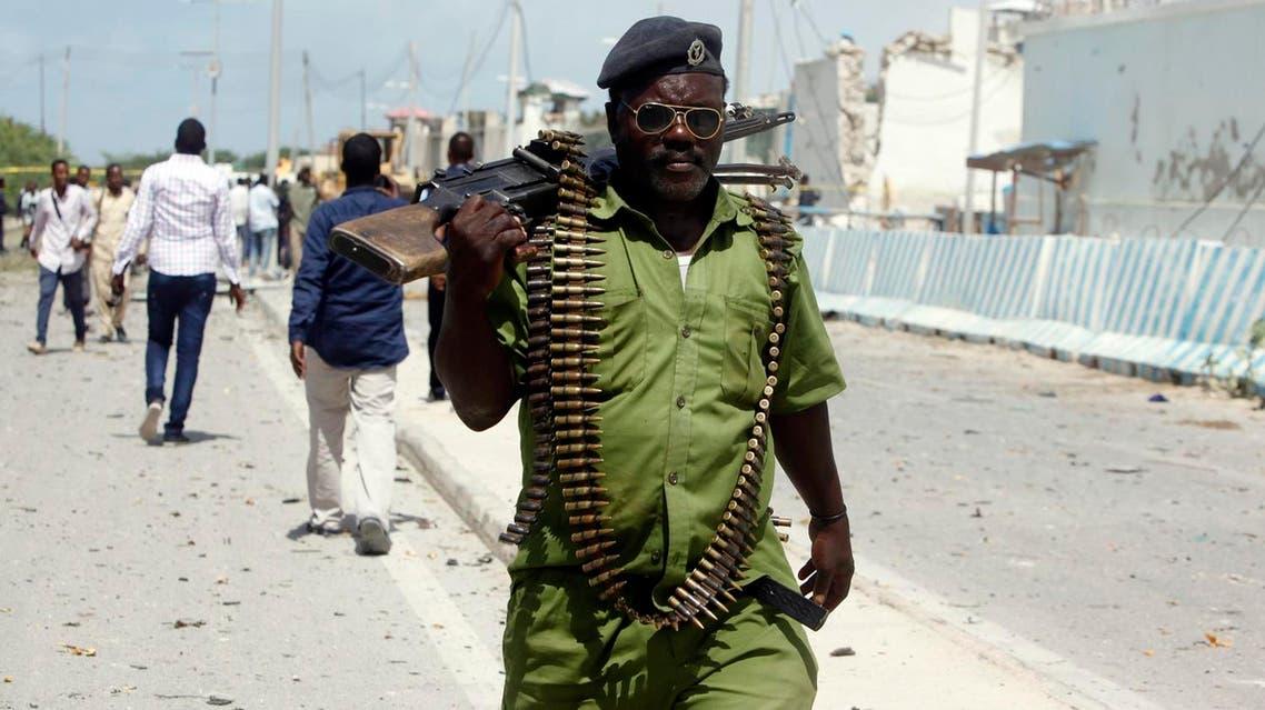 somali soldier at bombing site AP