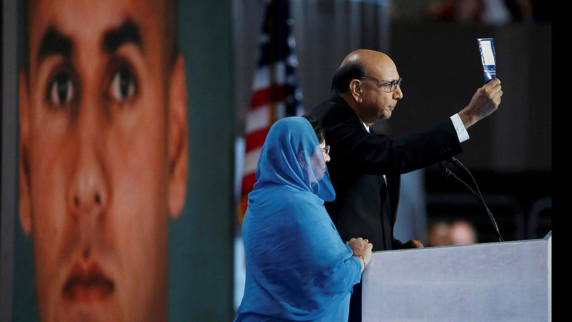 Khizr Khan, who's son Humayun (L) was killed serving in the U.S. Army, challenges Republican presidential nominee Donald Trump to read his copy of the U.S. Constitution, at the Democratic National Convention in Philadelphia. (Reuters)
