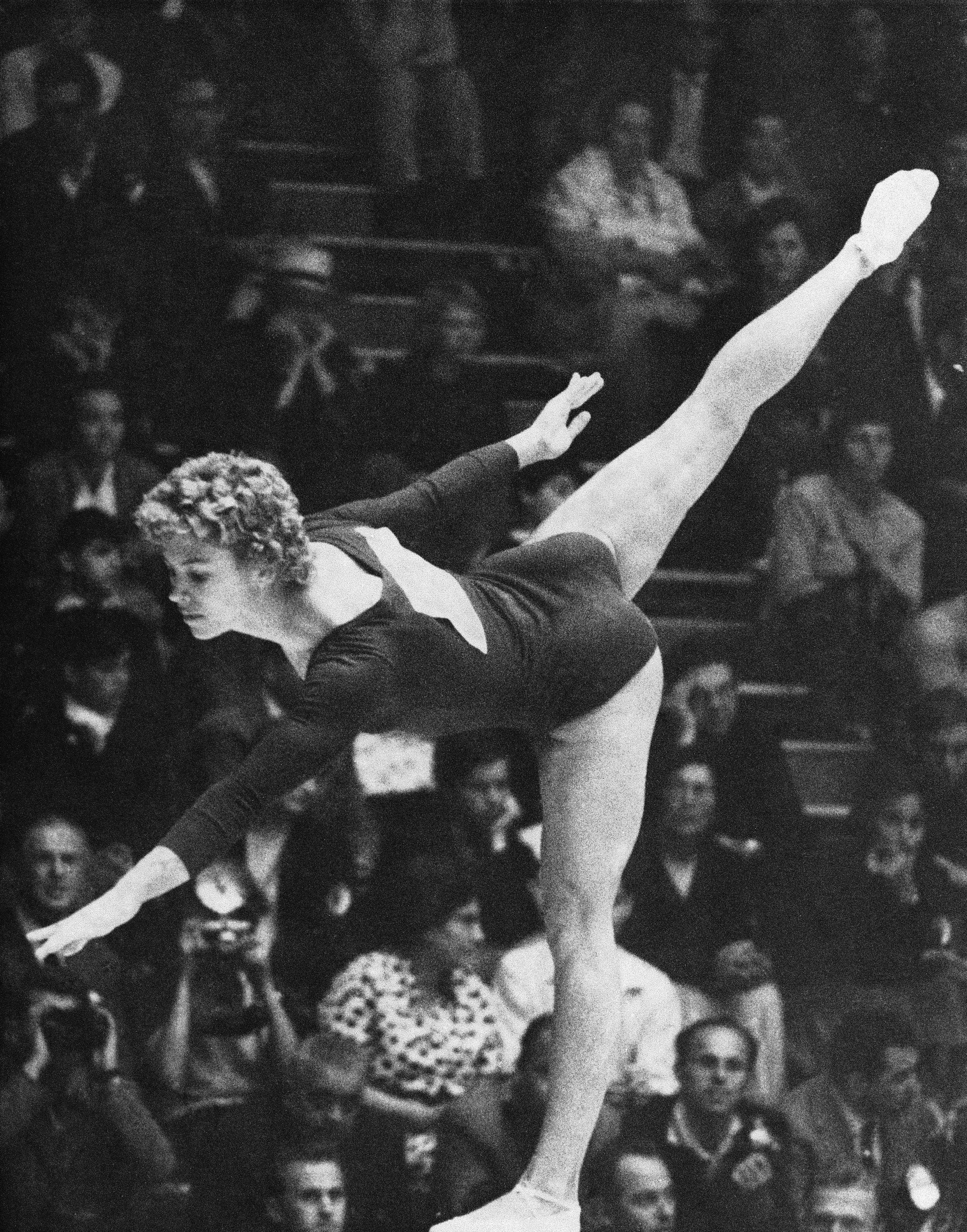 Larisa Latynina of Russia during her performance on the beam at the final of the woman's gymnastics held Sept. 9, 1960 at Rome's Terme Di Caracalla. She won second place in this event. (AP)