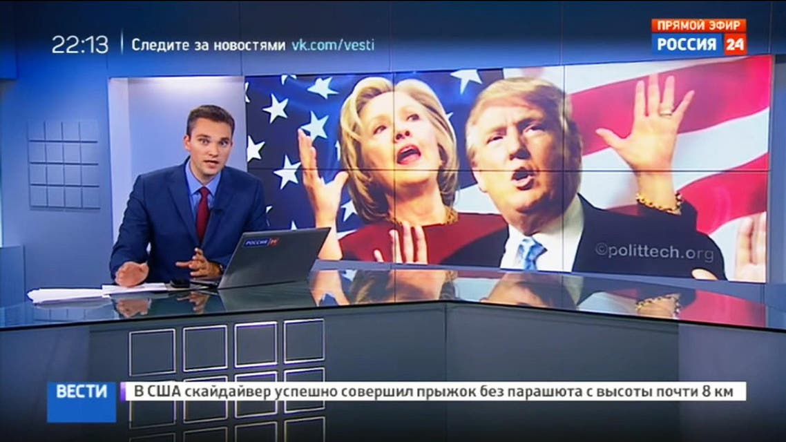 Viewers were told that Clinton sees Russia as an enemy and cannot be trusted, while the Democratic Party convention was portrayed as further proof that American democracy is a sham. (Screenshot of Rossiya channel)