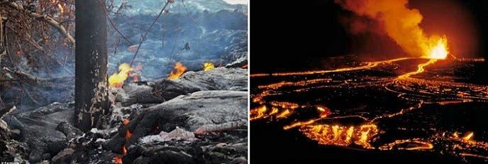 البركان الثائر منذ 33 سنة بلا توقف، احتدم فجأة قبل أسبوع، وحممه وصلت إلى الغابات والمحيط الهادي